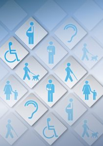 icons of different disabilities ie wheelchair, pregnancy, broken arm, hearing impaired